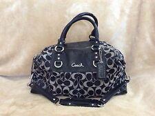 "COACH F15440 ""Ashley"" Signature Black C Sateen Large Satchel Handbag"