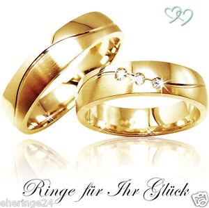 Eheringe gold mit 3 diamanten  2 Trauringe Eheringe Partnerringe Gold 333 mit 3 Diamanten + ...