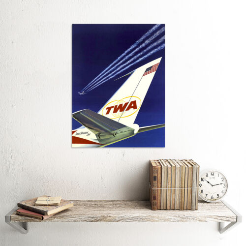 TWA AIRLINE STARS STRIPES USA AIRPLANE AEROPLANE VINTAGE ADVERT POSTER 1558PY