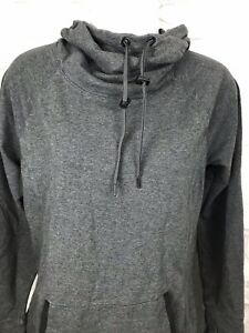 Athleta Heathered Gray Sweatshirt Cowl Neck Hooded Women Size Small