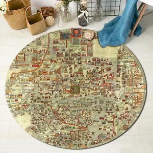 Medieval-Sea-Monsters-Map-Area-Rug-Round-Floor-Mat-Carpet-Crawling-Mat-Yoga-Rug