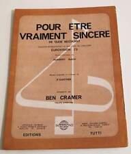 Partition sheet music BEN CRAMER : Pour Etre Vraiment Sincère * 70's Eurovision