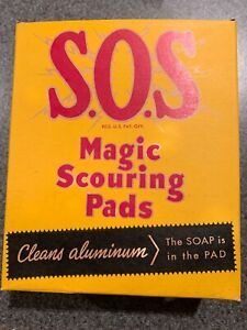 Vintage-1950-New-Full-Unopened-Box-S-O-S-Magic-Scouring-Pads-Steel-Wool-SOS-NOS