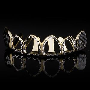 14K Gold & Silver Plated Hip Hop Hollow Side Diamond Cut Cap Teeth Top Grillz