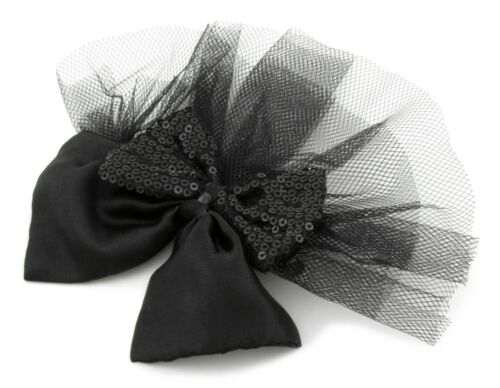 ZEST double nœud avec maille Diapositive Clip Cheveux Noir