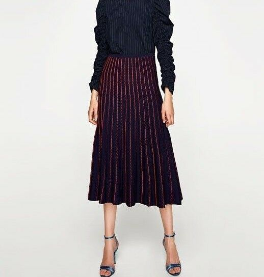ZARA NAVY blueE STRUCTURED KNITTED MIDI SKIRT SIZE XS