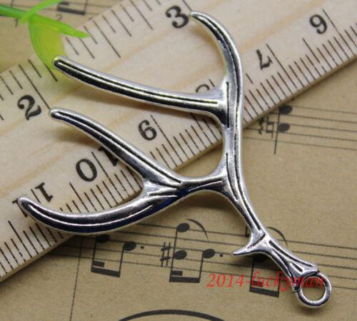 10pcs retro style Jewelry Making antlers alloy charm pendants DIY 51x40mm