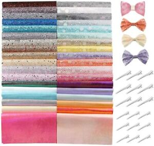 Caydo-36-Pieces-Glitter-Faux-Sheets-Bow-Making-Kit-with-Hair-Clips-for-Bows-Hair
