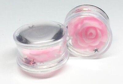 PAIR - PINK ROSE GLITTER STARS - SADDLE Ear Gauges - Ear Plugs - Flesh Tunnel
