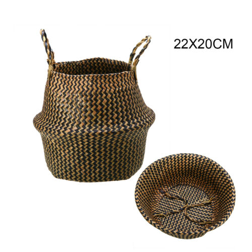New Natural Seagrass Belly Storage Basket Flower Plant Pot Garden Home Decor