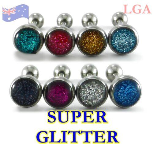 8 Tongue Bar Bars Ring Stud Barbells SUPER GLITTER pattern 14g 16mm 316L Steel