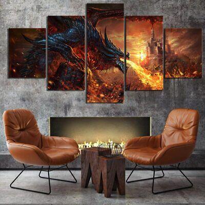 Fierce Fire Dragon Castle Wow 5 panel canvas Wall Art Home Decor Print Poster