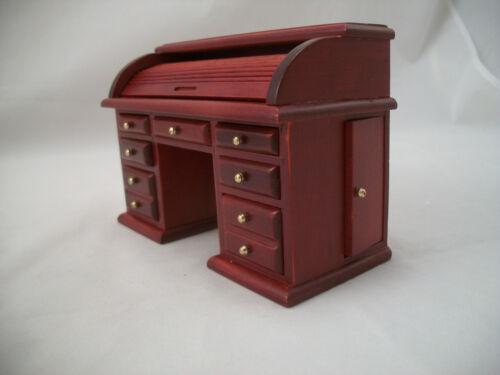 Desk - Roll Top - miniature dollhouse wooden furniture T3434 1/12 scale