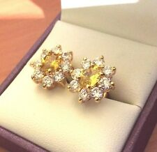 Oval yellow citrine & sim diamond stud earrings 18k gold filled, BOXED Plum UK