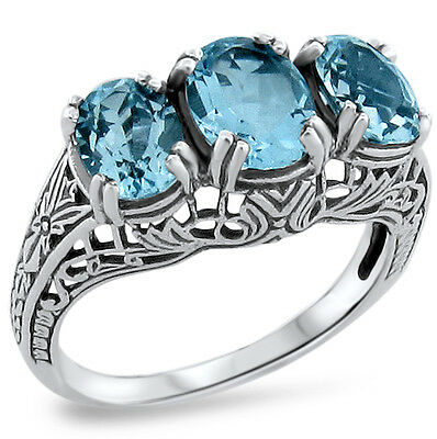 #416 GENUINE SKY BLUE TOPAZ ANTIQUE STYLE .925 SILVER SOLITAIRE RING SIZE 10