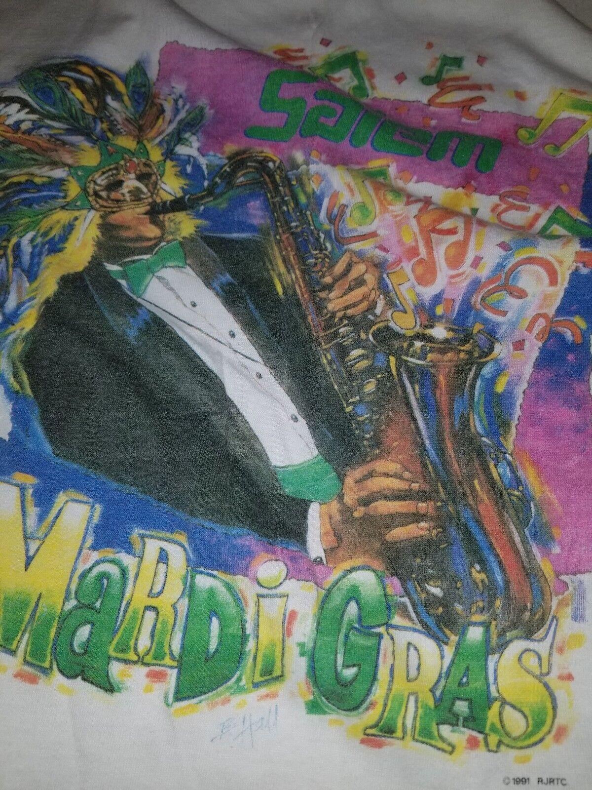 Mardi gras new Orleans 1992 Salem Cigarettes Big Graphic Shirt XL VTG 90s USA