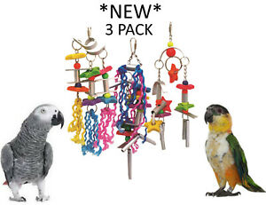 NEW-3-PACK-BEAKS-EXPLORER-LARGE-METAL-ROPE-PARROT-TOY-AFRICAN-GREY-TOYS-FE001