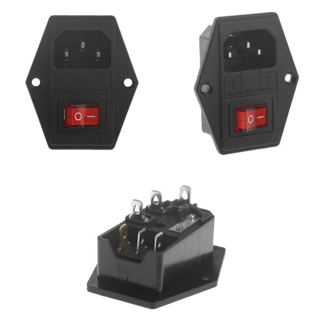 10a 250v 3 Pin Iec320 C14 AC Inlet Male Plug Power Socket With Fuse Iec C Wiring Diagram on