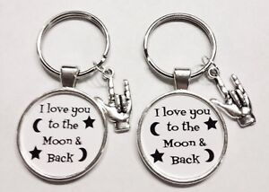 2 Keychains Sign Language I Love You To The Moon And Back Best Friends