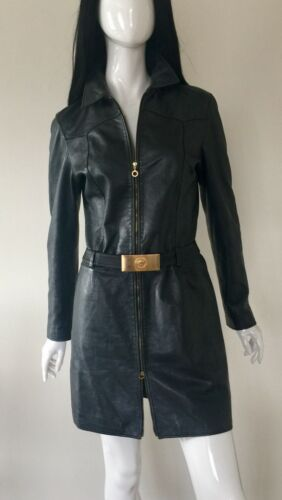 VERSACE Jeans Couture Designer Leather Ladies Coat size 44ITM10UK better fit