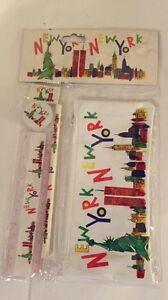 Vintage new york new york skyline pencil case set pencil sharpener