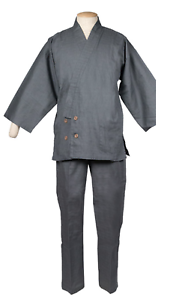 Japanese Samue Men S Traditional Work Wear Kimono Kasuri Gray From