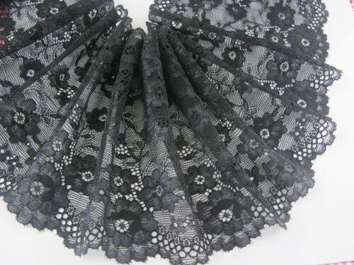 "6/""*1yard delicate black Elastic//Spandex Soft Flower Floral lace trim 0327"