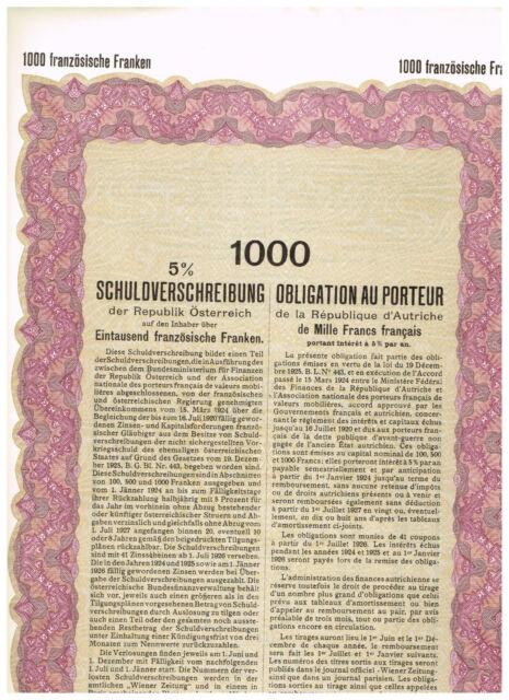 Republik Österreich, Wien 1926, 1000 französische Franken, unissued
