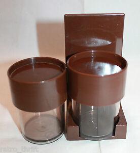 Mid Century Modern Danish D I Y Brown Plastic Spice Rack Canister Set Erik Kold Ebay