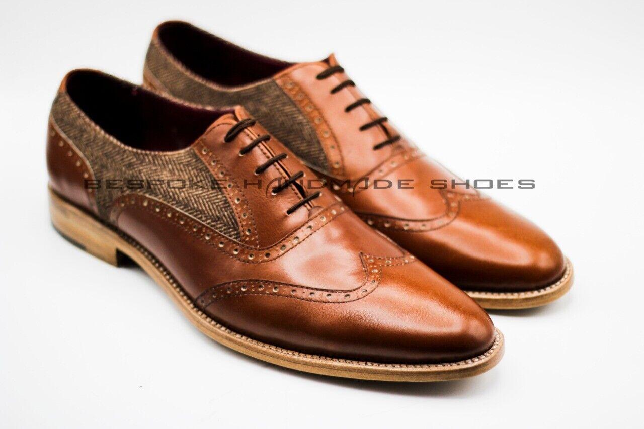 Men's Handmade Genuine Marronee Leather & Fabric Oxford Brogue Wingtip Lace Up scarpe