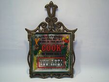 "Vintage Cast Iron ""Who Is The Best Cook Of Them All?"" Trivet Tile"