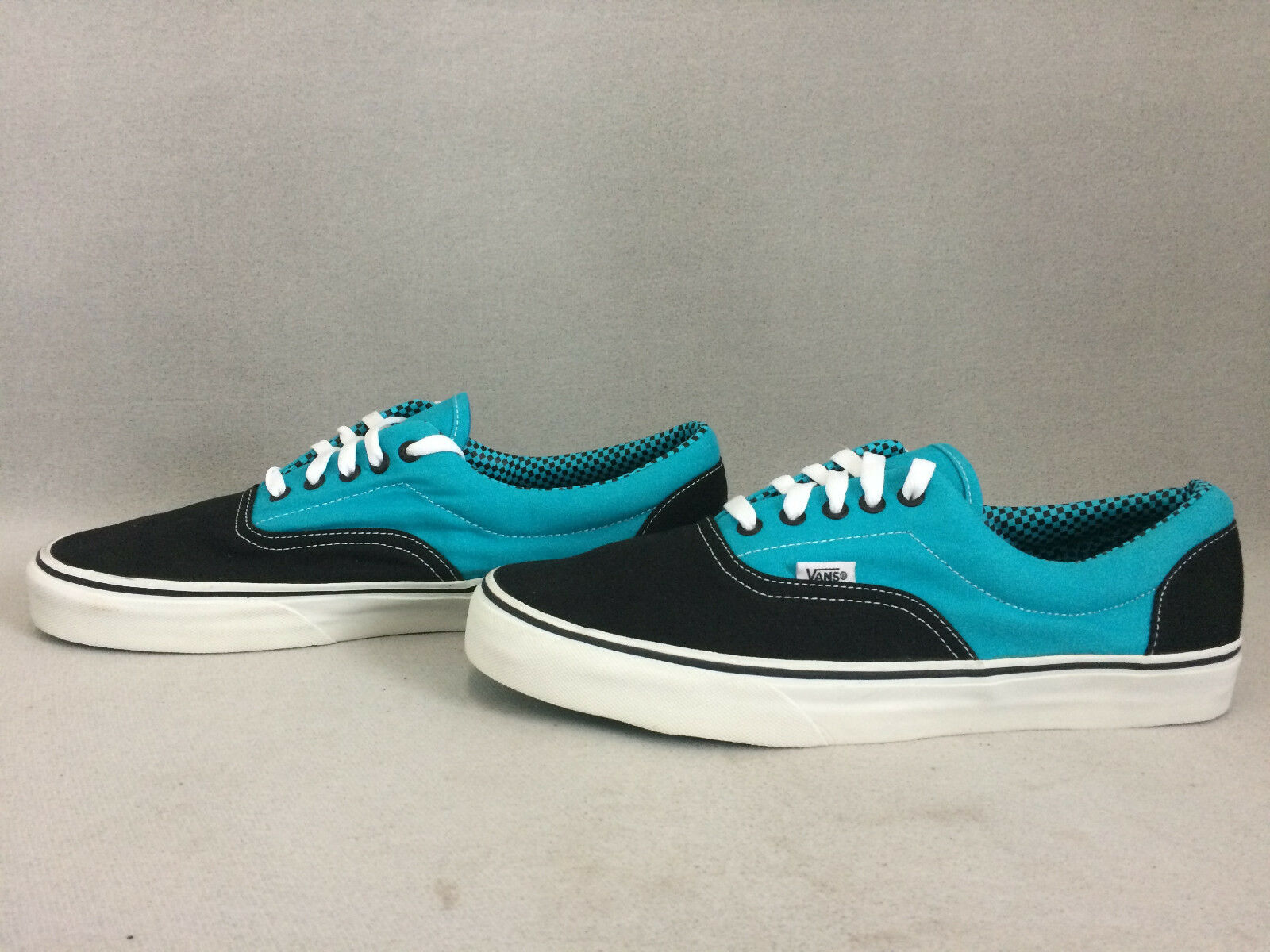 Vans Men's Off The Wall Lace Up Sneakers Black Lightbluee, Size 13 Us