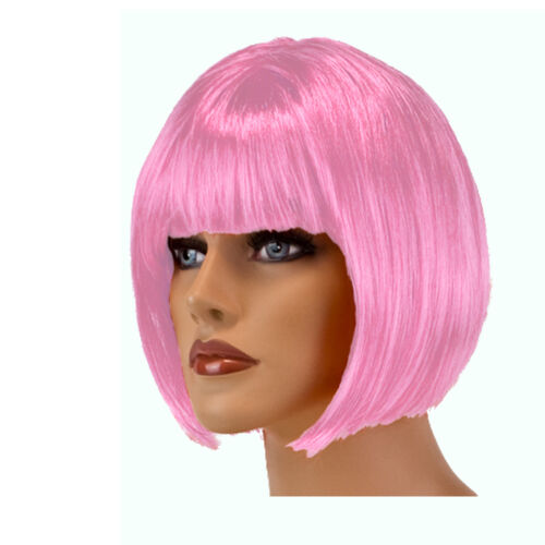 Perücke Bob kurz Farbe Rosa Perücken Babe Fasching Karneval Party Babe kurzhaar