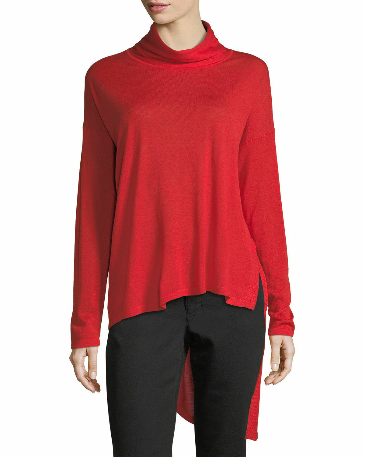 NWT Eileen Fisher High-Low Ultrafine Merino Wool Top in Red - Size S