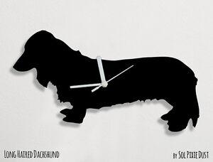 long haired dachshund dog silhouette wall clock ebay
