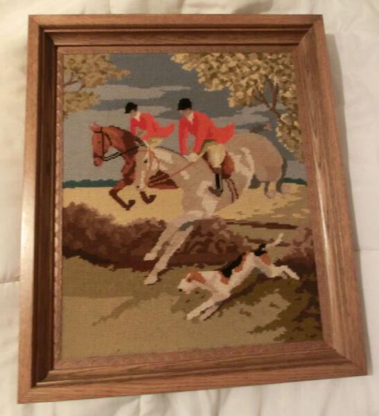 Aufstrebend Großes Gesticktes Gobelin Bild Pferdejagd Mit Hund Eichenholzrahmen 55 X 65 Cm