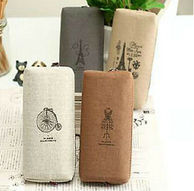 Stationery Pencil Pen Storage Case Cosmetic Makeup Bag Pouch Fashion Simple TR