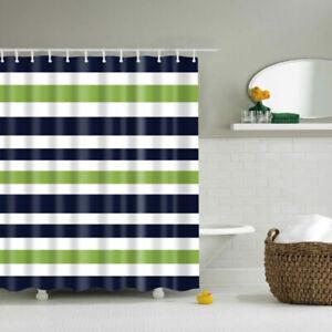 Stripe-Polyester-Waterproof-Curtain-Bathroom-Green-Fabric-Shower-White-Blue
