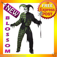 C620 Jokes on You Mardi Gras Black Green Evil Jester Halloween Adult Costume