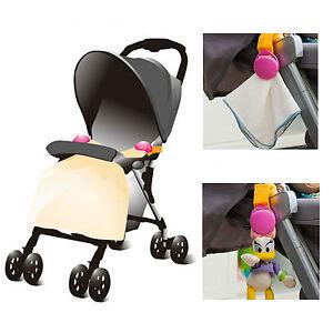 Baby Pram Blanket Toy 2 Pack Safety Clip Holder