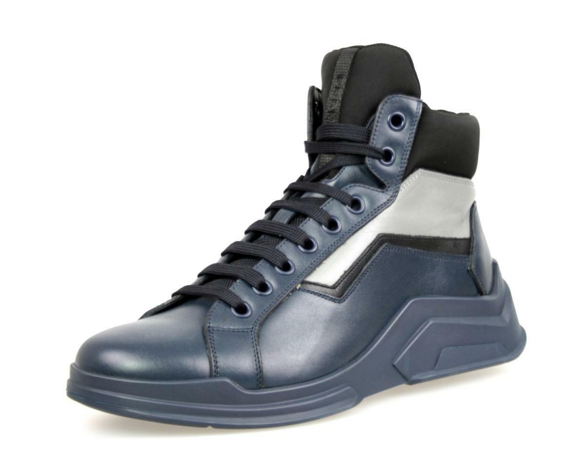 AUTHENTIC LUXURY PRADA SNEAKERS SHOES 4T2802 blueE GREY NEW 7 41 41,5