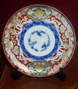 Antique Japanese Meiji Arita Imari Plate Three Friends of Winter circa 1880's