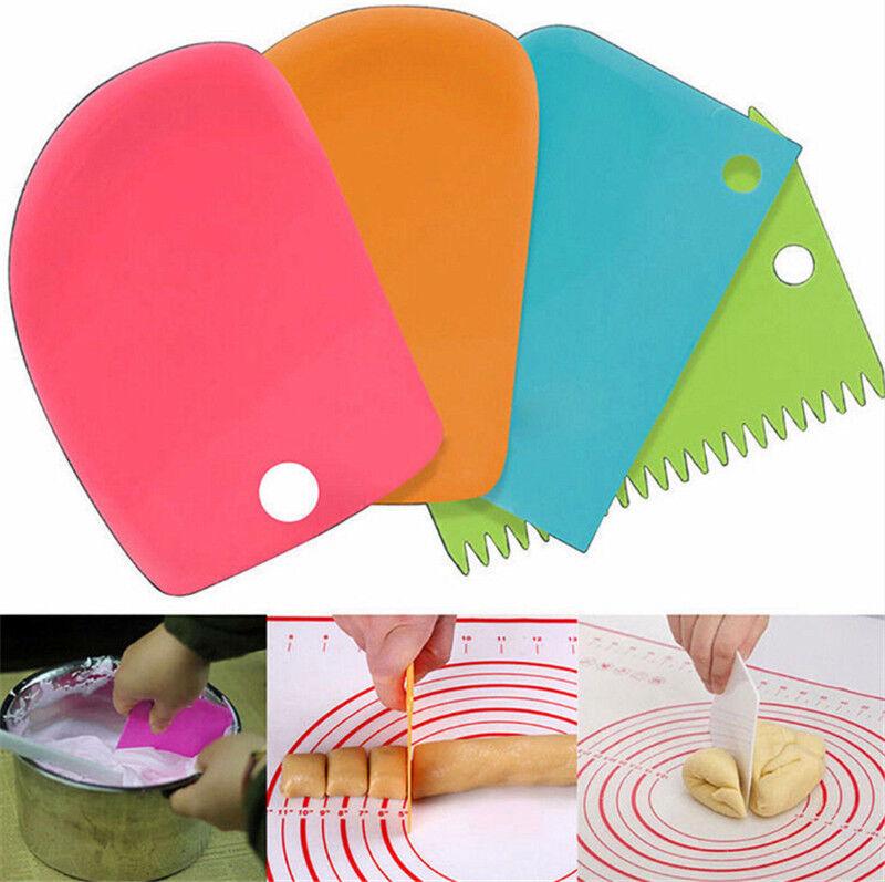 3Pcs Plastic Dough Icing Fondant Scraper Cake Decorating Baking Pastry Tools 2