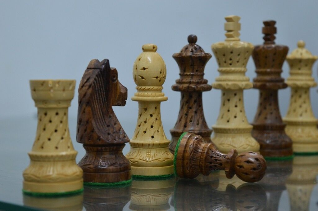 pink Wood Zagreb Staunton Wooden Chess Set Pieces King size 3.75