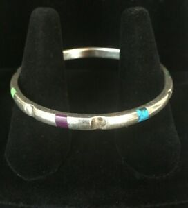 Vintage-Sterling-Silver-Bracelet-Inlay-Multi-Stone-Bangle-Taxco-TL-101-Solid-Mex