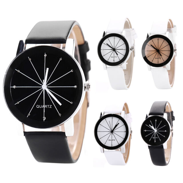 Fashion Men's Women's Leather Band Stainless Steel Quartz Analog Wrist Watch New