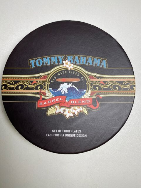 Tommy Bahama Cigar Band Plates 7 inch Lunch Dessert Tapas NIB Set of 4 Ltd Ed