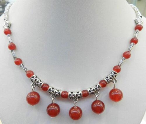 "Naturel perles rondes Pendentifs et Tibet Argent Collier 18/"""