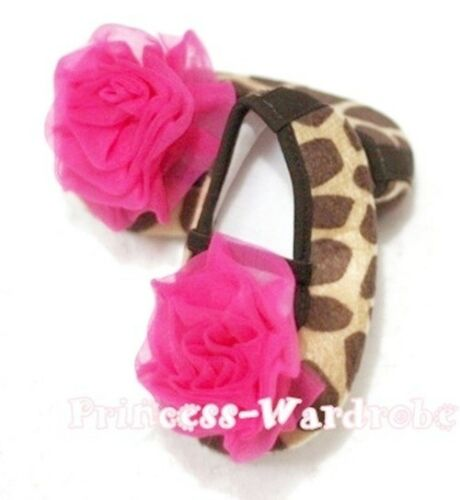 Giraffe Print Infant Baby Crib Petti Shoes with Rose for Pettiskirt Unisex 0-18m