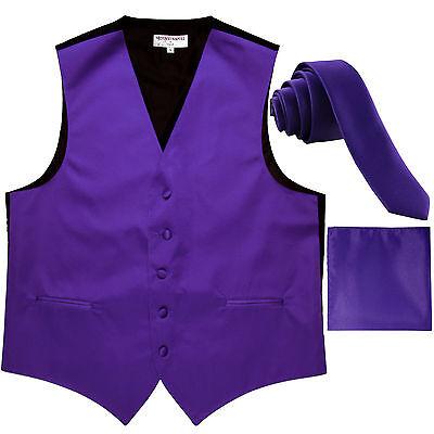 """New Men's Solid Tuxedo Vest Waistcoat & 1.5"""" Skinny Necktie Set Purple formal"""